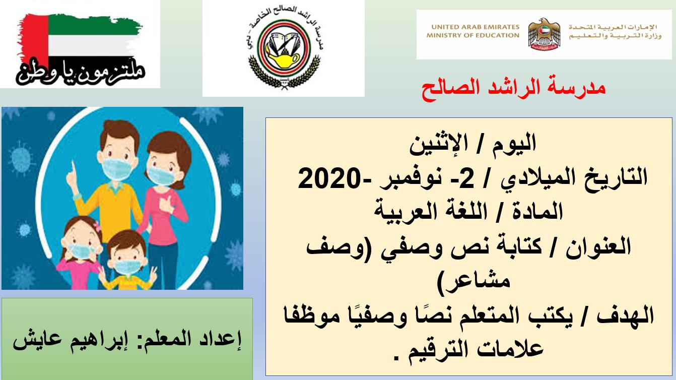 درس كتابة نص وصفي وصف مشاعر الصف الرابع مادة اللغة العربية - بوربوينت