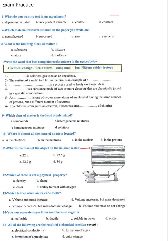 اوراق عمل مراجعة عامة بالانجليزي الصف السادس مادة العلوم المتكاملة - بوربوينت