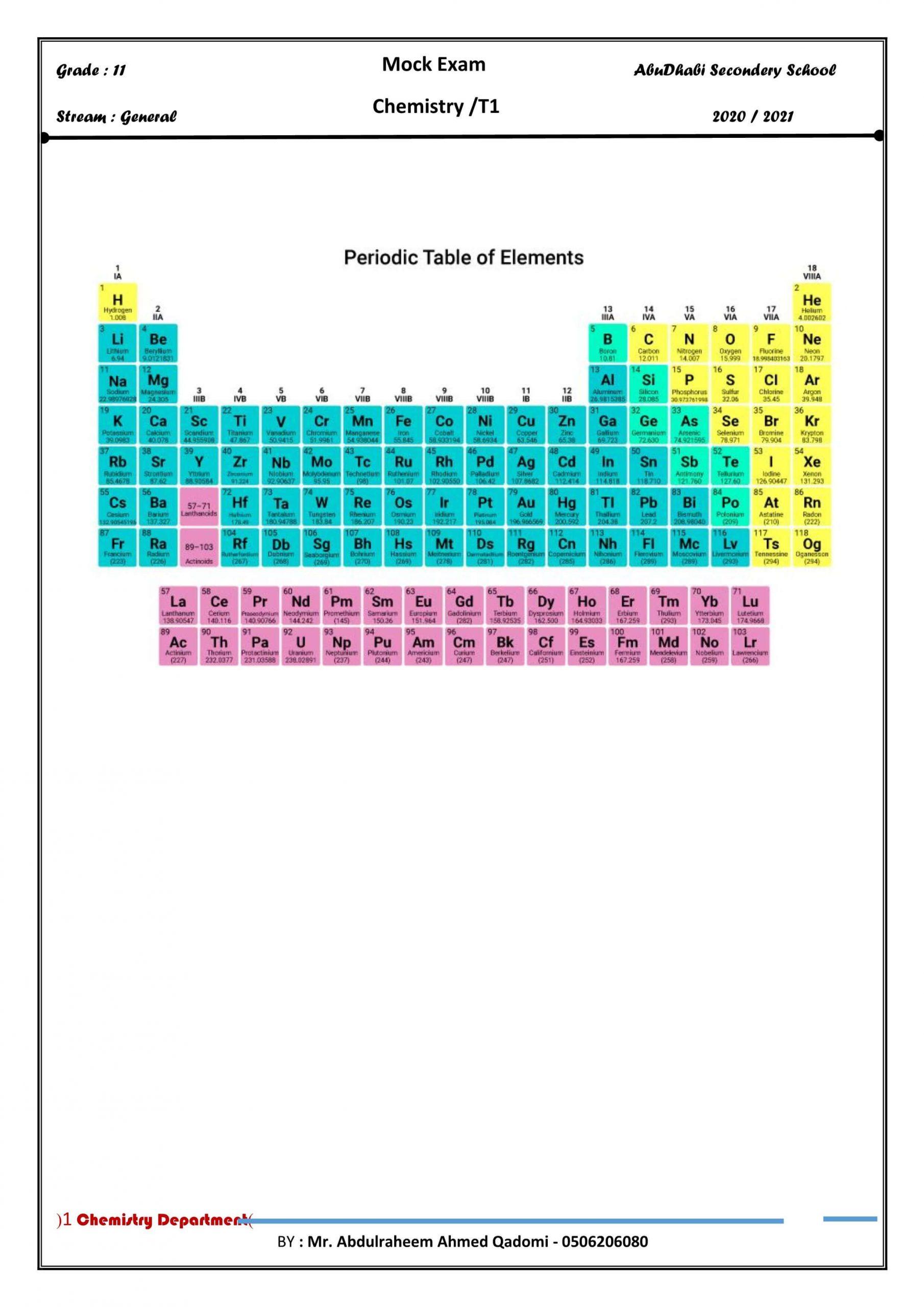 اوراق عمل مراجعة بالانجليزي الصف الحادي عشر مادة الكيمياء