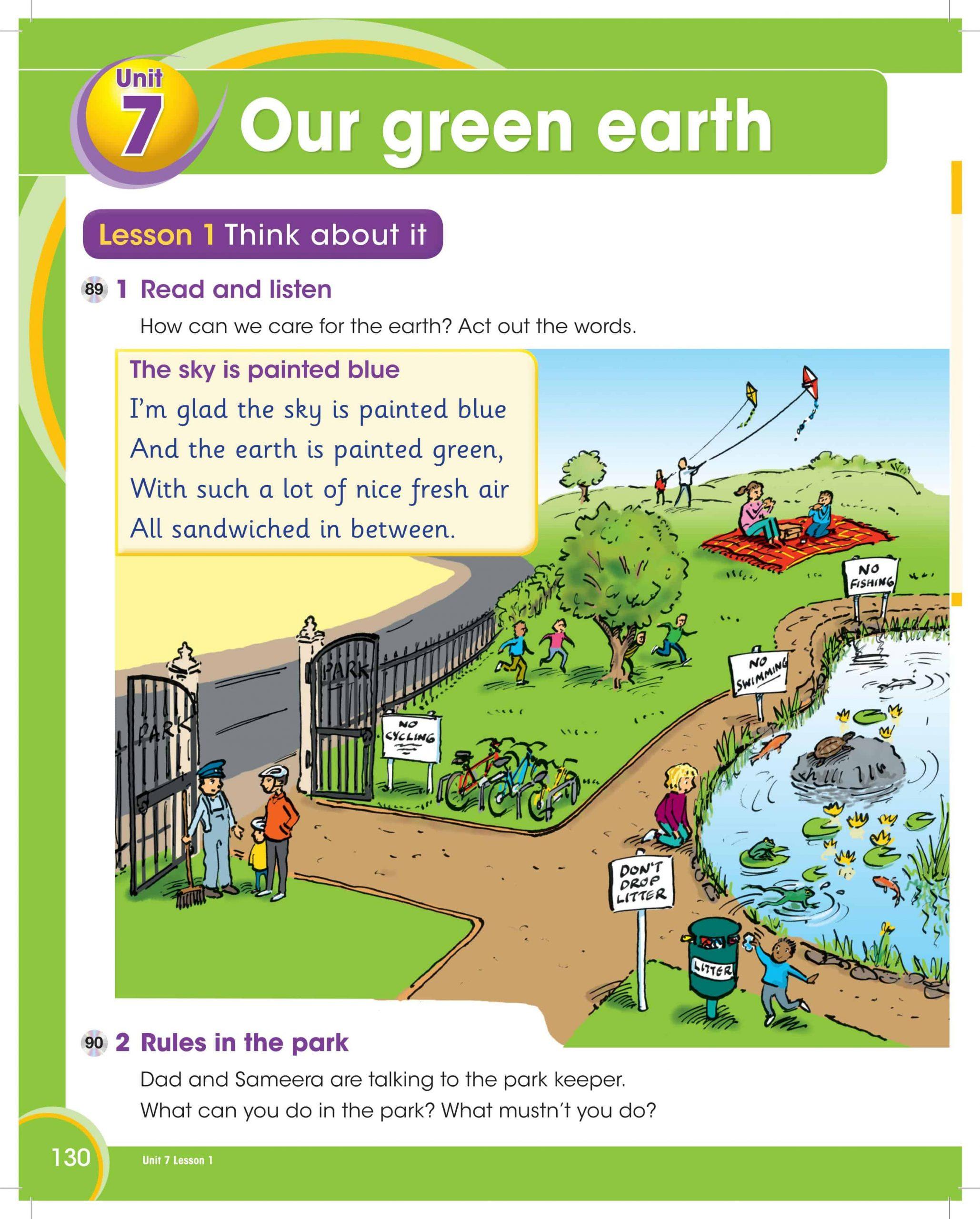 كتاب الطالب وحدة Unit 7 Our green earth الصف الثالث مادة اللغة الانجليزية