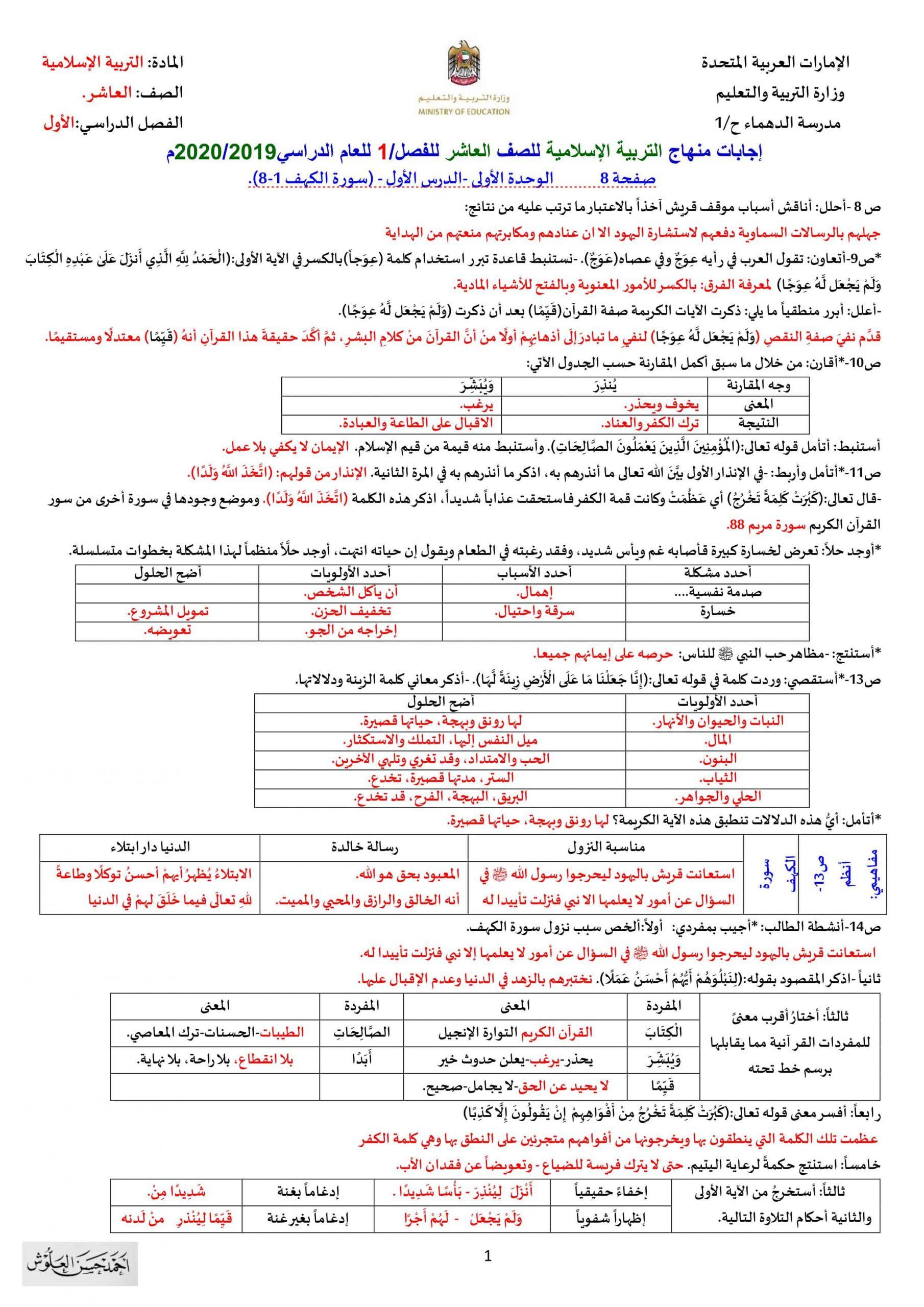 حل اوراق عمل تدريبات شاملة الصف العاشر مادة التربية الاسلامية