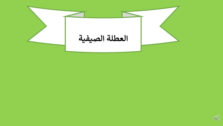 درس العطلة الصيفية لغير الناطقين بها الصف الثالث مادة اللغة العربية - بوربوينت