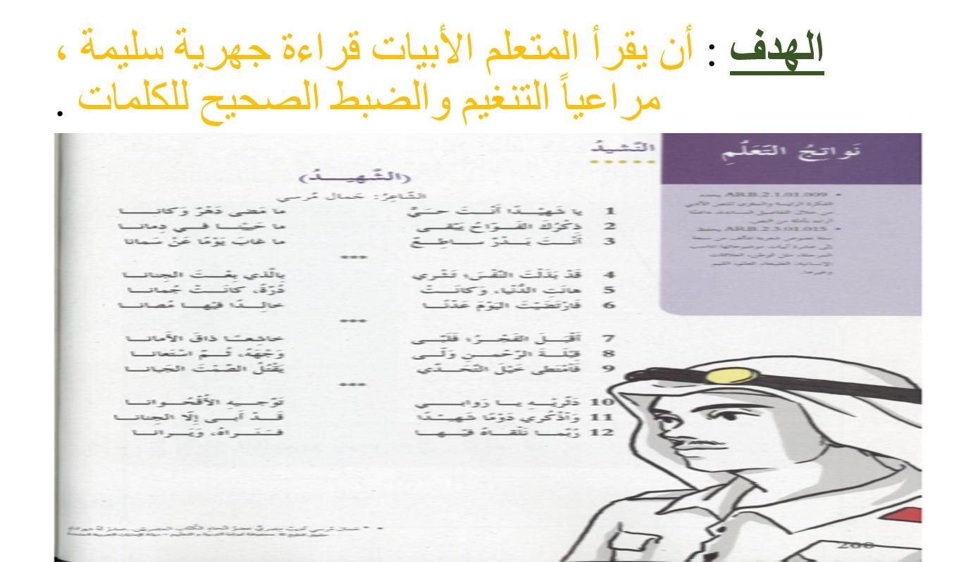 درس نشيد الشهيد الصف الرابع مادة اللغة العربية - بوربوينت