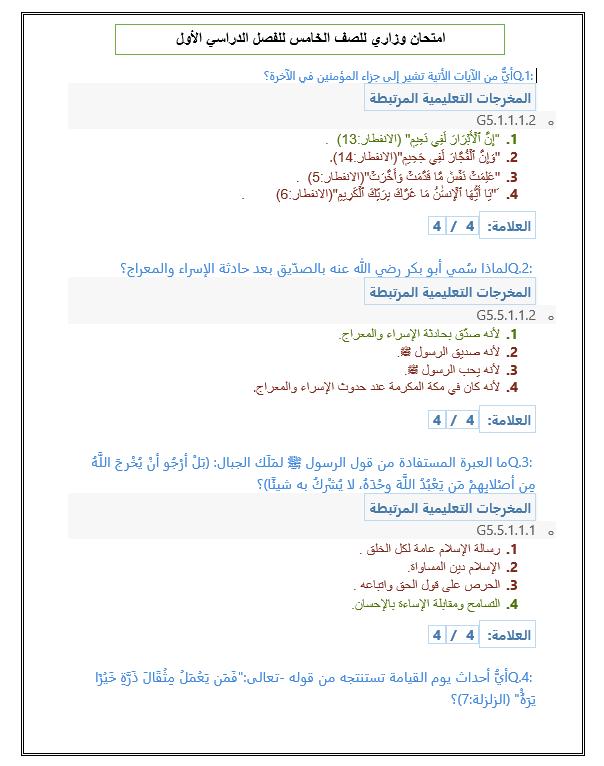 حل امتحان نهاية الفصل الدراسي الاول 2020-2021 الصف الخامس مادة التربية الاسلامية