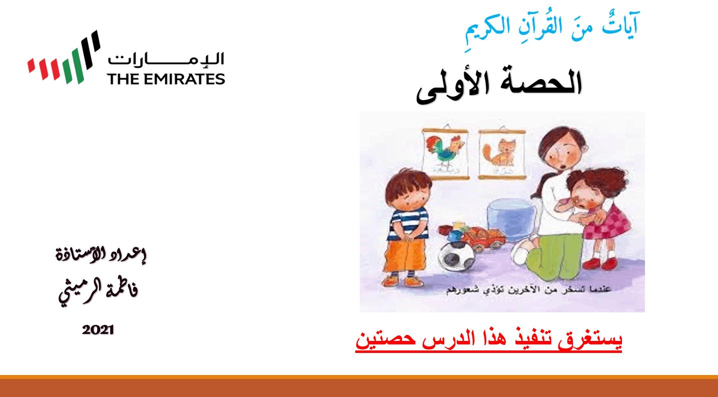 درس ايات من القران الكريم الصف السادس مادة اللغة العربية - بوربوينت