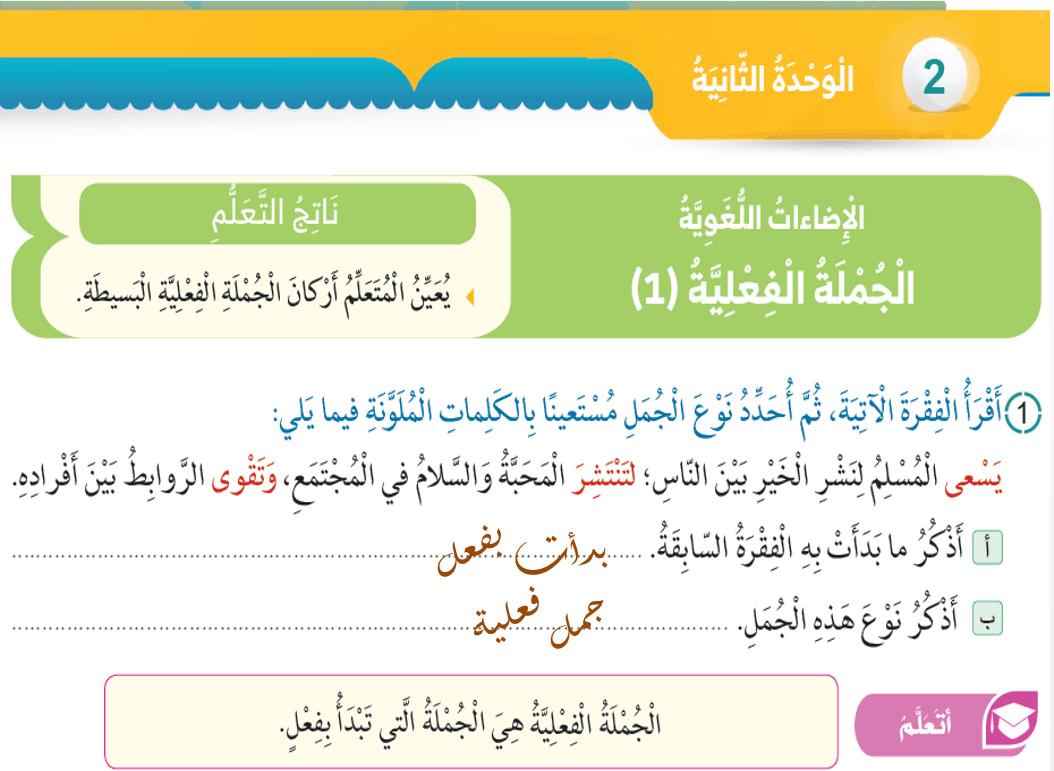 حل درس الجملة الفعلية الصف الرابع مادة اللغة العربية - بوربوينت