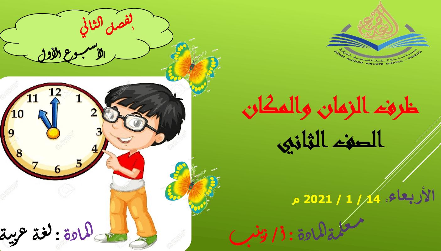 درس ظرف المكان والزمان الصف الثاني مادة اللغة العربية - بوربوينت