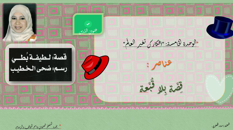 عناصر قصة بلا قبعة الصف الثاني مادة اللغة العربية - بوربوينت
