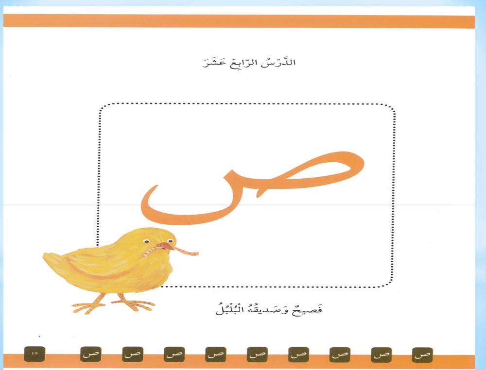 حل درس حرف الصاد فصيح وصيديقة البلبل الصف الاول مادة اللغة العربية - بوربوينت