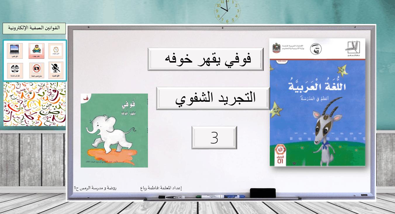 فوفي يقهر خوفه التجريد الشفوي الصف الاول مادة اللغة العربية - بوربوينت