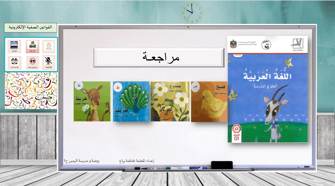 بوربوينت مراجعة الحروف الصاد والضاد والطاء والظاء الصف الاول مادة اللغة العربية