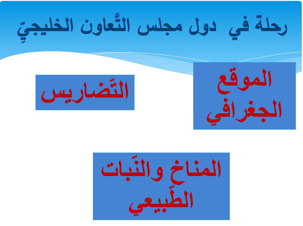 درس رحلة في  دول مجلس التعاون الخليجي الصف الخامس مادة الدراسات الإجتماعية والتربية والوطنية - بوربوينت