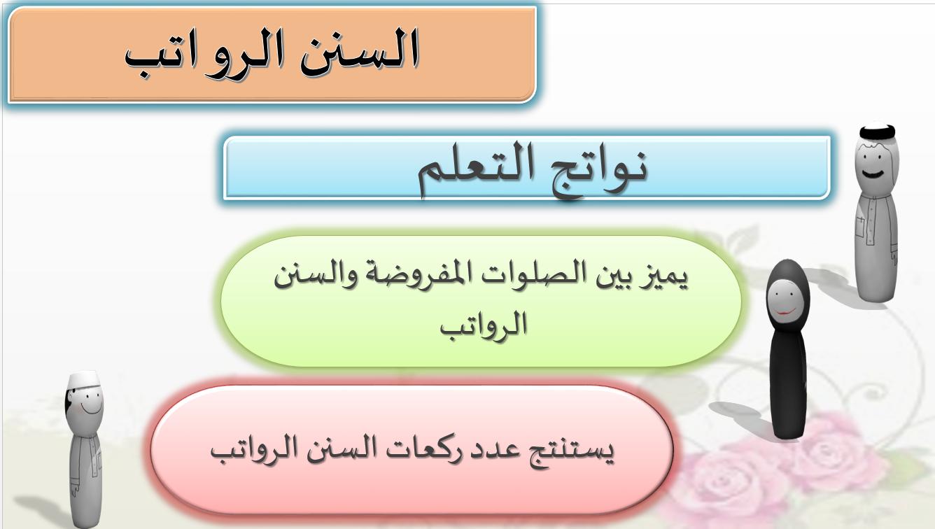 حل درس السنن والرواتب الصف الرابع مادة التربية الإسلامية - بوربوينت