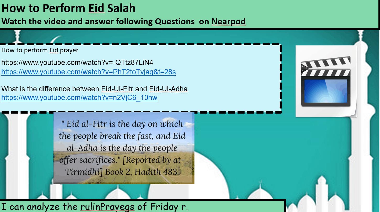 درس Eid Prayer لغير الناطقين باللغة العربية الصف الخامس مادة التربية الإسلامية - بوربوينت