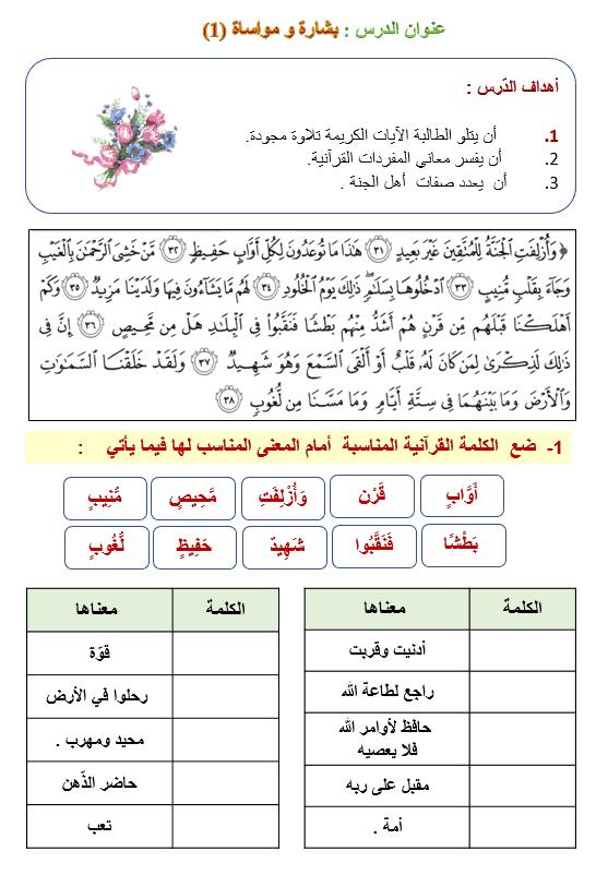 ورقة عمل درس بشارة ومساواة الصف السابع مادة التربية الإسلامية - بوربوينت