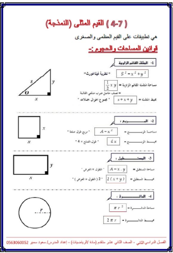 أوراق عمل درس القيم المثلى الصف الثاني عشر متقدم مادة الرياضيات المتكاملة
