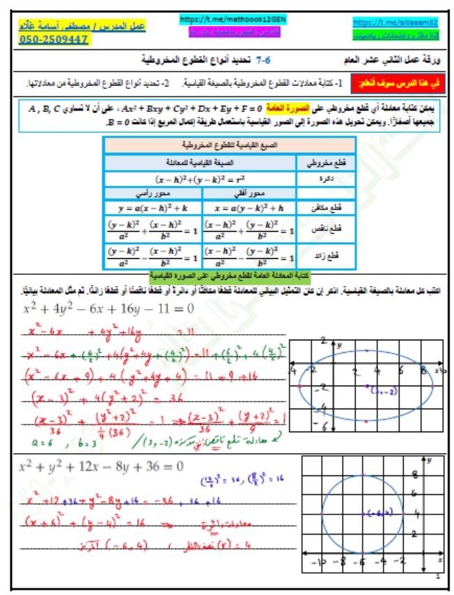 حل ورقة عمل تحديد أنواع القطوع المخروطية الصف الثاني عشر عام مادة الرياضيات المتكاملة