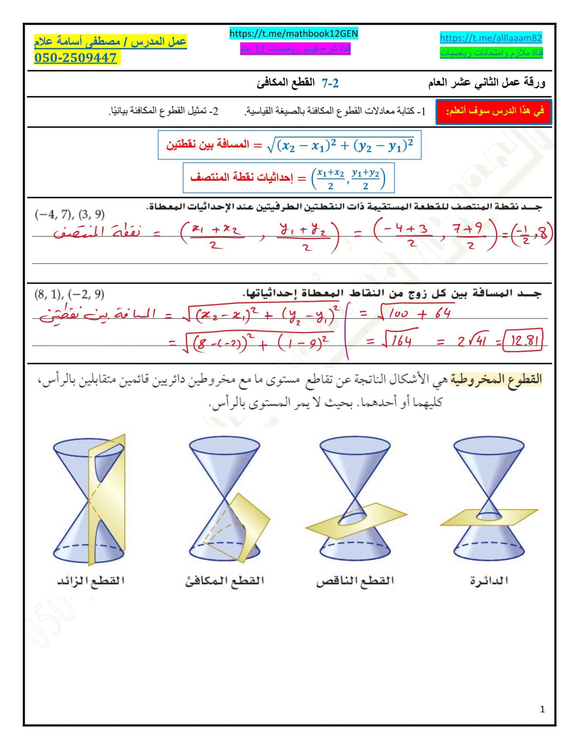 حل ورقة عمل القطع المكافئ الصف الثاني عشر عام مادة الرياضيات المتكاملة