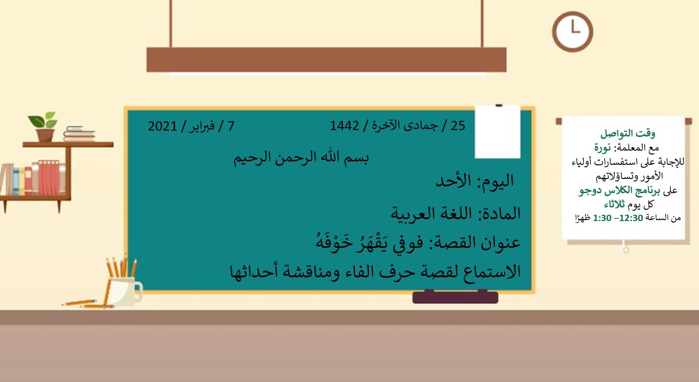 درس فوفو يقهر خوفه استماع ومناقشة الأحداث الصف الأول مادة اللغة العربية - بوربوينت