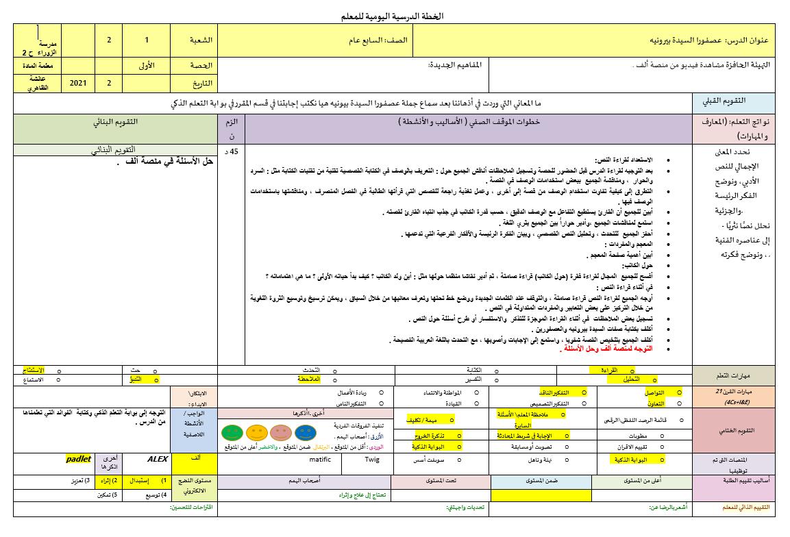 الخطة الدرسية اليومية عصفورا السيدة بيرونيه الصف السابع مادة اللغة العربية