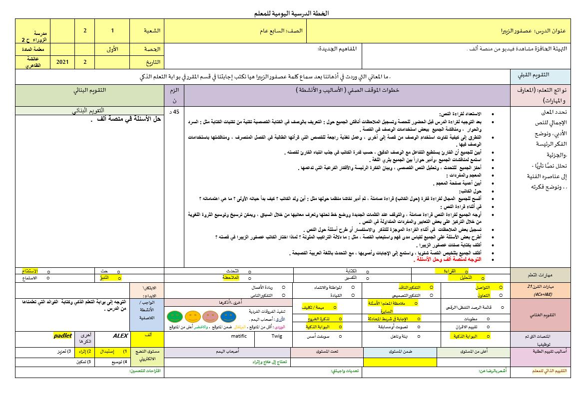 الخطة الدرسية اليومية عصفور الزيبرا الصف السابع مادة اللغة العربية