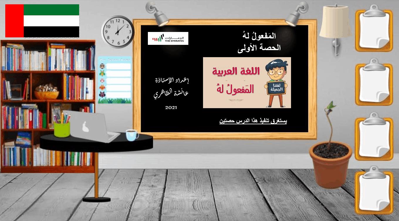 حل درس المفعول له الصف السابع مادة اللغة العربية - بوربوينت