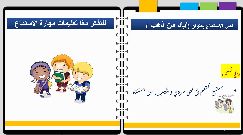 حل درس نص استماع أياد من ذهب الصف الرابع مادة اللغة العربية - بوربوينت