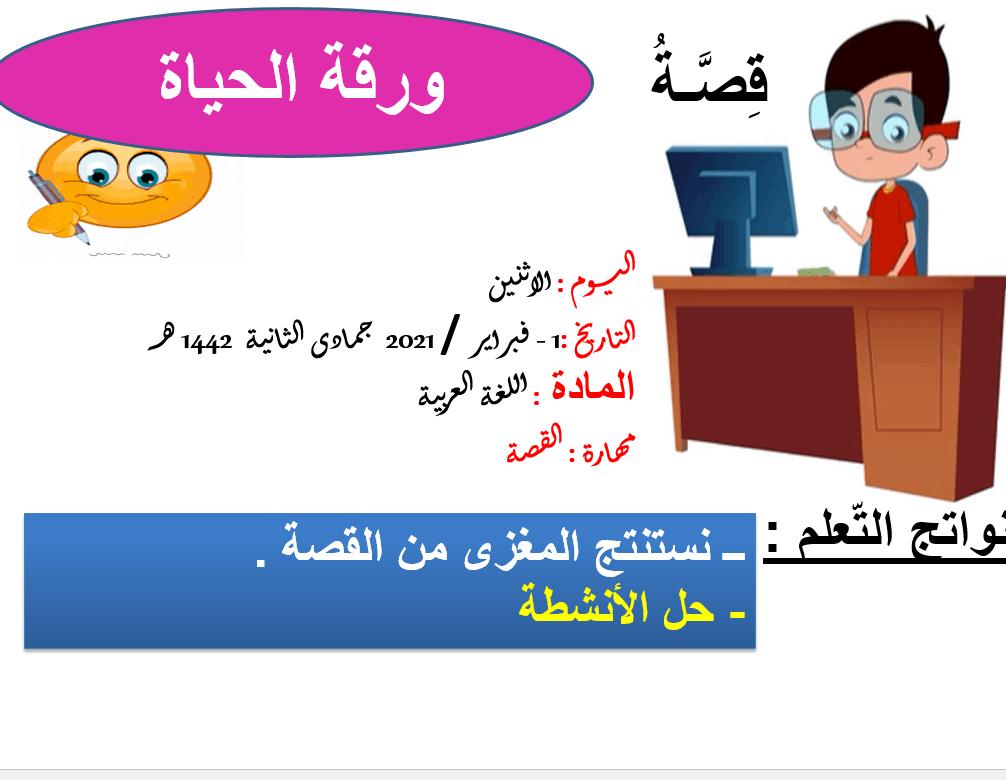 حل درس قصة ورقة الحياة الصف الخامس مادة اللغة العربية - بوربوينت