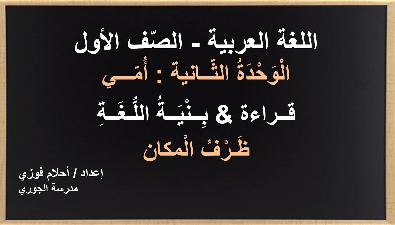 درس بنية اللغة ظرف المكان الصف الأول مادة اللغة العربية - بوربوينت