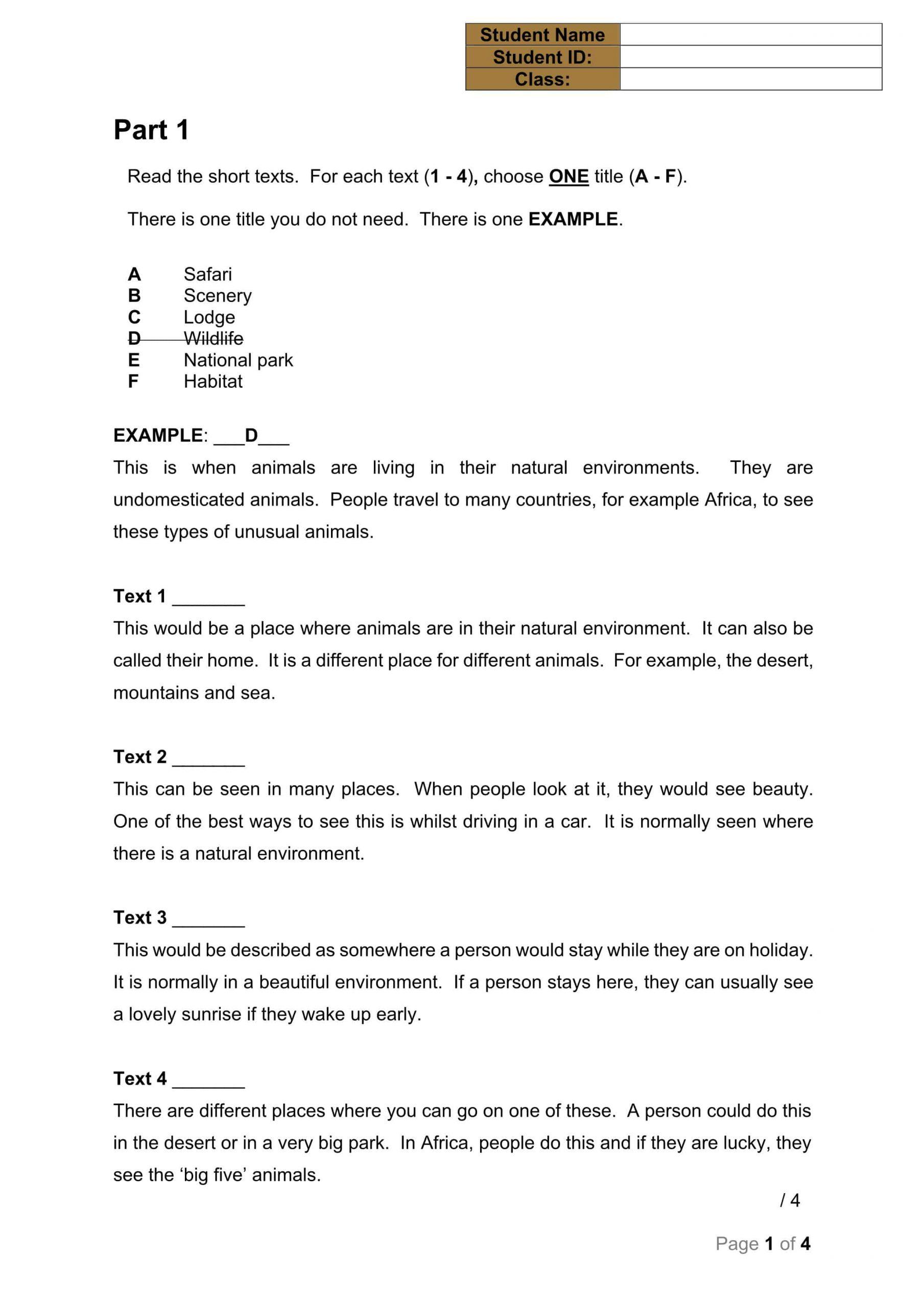 ورقة عمل Reading Pop Quiz 1 الصف التاسع مادة اللغة الإنجليزية