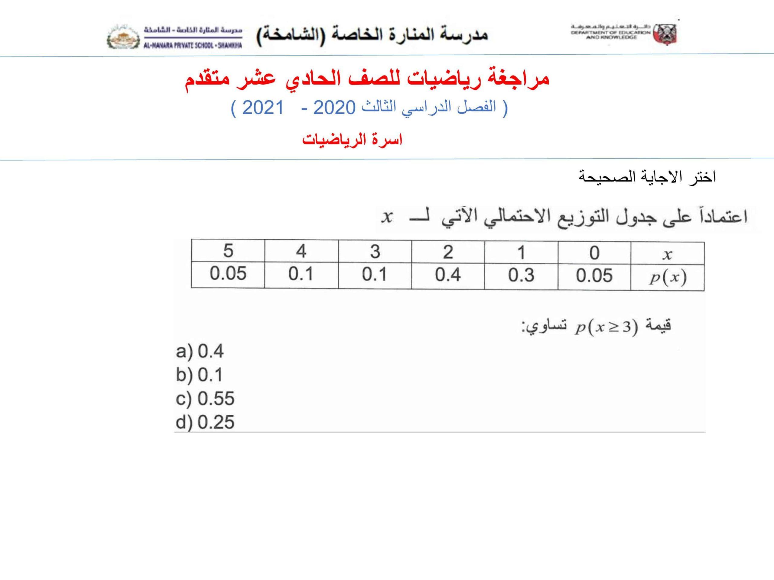 أوراق عمل مراجعة شاملة الصف الحادي عشر متقدم مادة الرياضيات المتكاملة