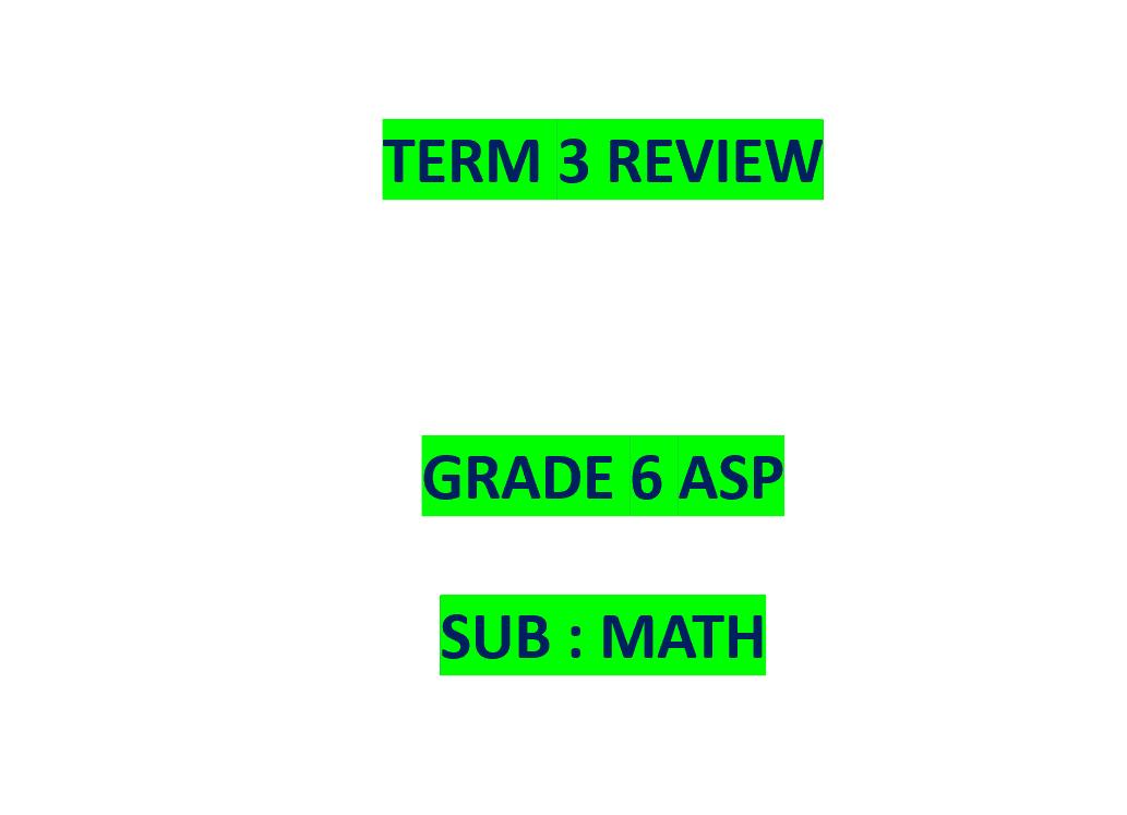 حل مراجعة عامة بالإنجليزي الصف السادس مادة الرياضيات المتكاملة - بوربوينت