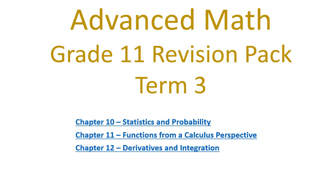 مراجعة نهائية بالإنجليزي الصف الحادي عشر متقدم مادة الرياضيات المتكاملة - بوربوينت
