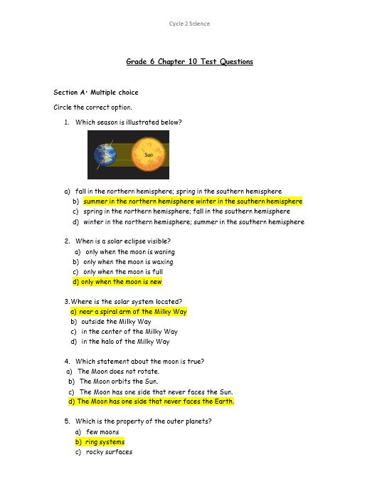 حل أوراق عمل مراجعة بالإنجليزي الصف السادس مادة العلوم المتكاملة