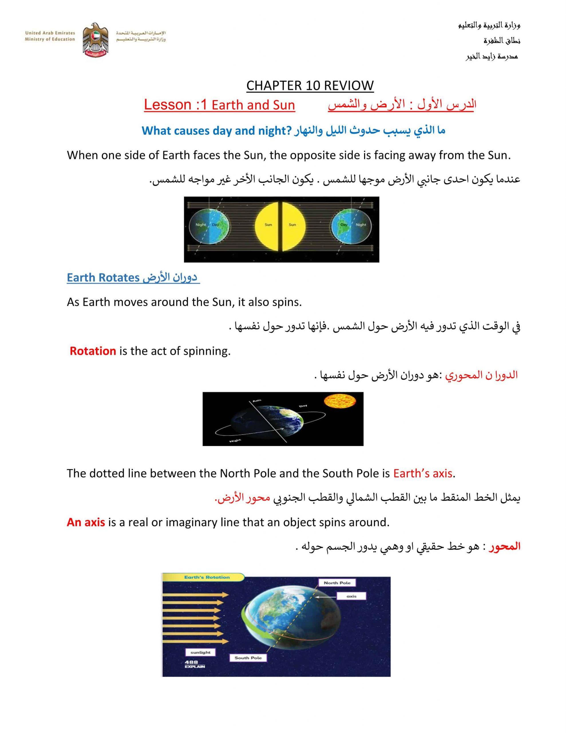 ملخص CHAPTER 10 REVIOW بالإنجليزي الصف الرابع مادة العلوم المتكاملة