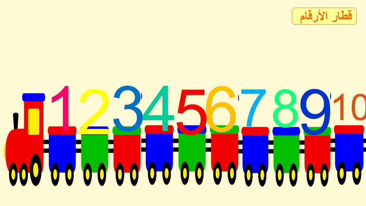 قطار الأرقام العربية لمراجعة الأعداد مع مدلولاتها من 1 إلى 10 المعلمة أسماء